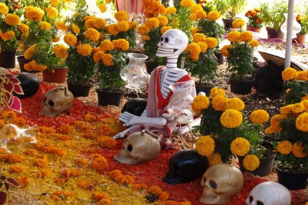 """Altar con flores de muerto y calaveritas en el """"Día de Muertos"""""""