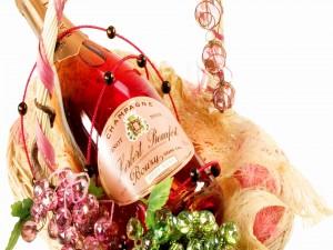 Postal: Una botella de champagne para regalar
