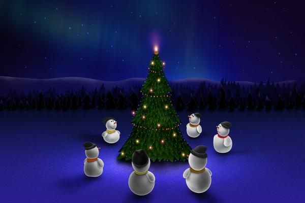 Muñecos de nieve esperando la Navidad