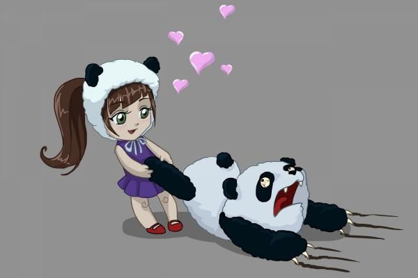 Niña enamorada de un oso panda