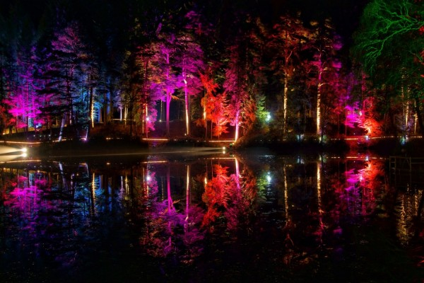 Un maravilloso parque iluminado