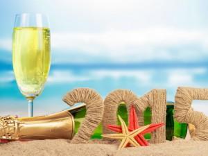Postal: Champagne para festejar el año 2015