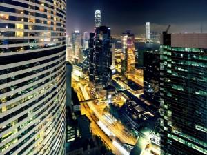 Edificios de Hong Kong iluminados