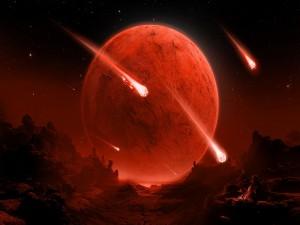 Postal: Meteoritos cayendo en un planeta