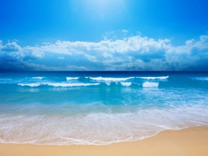Postal: Una bonita playa en pleno día