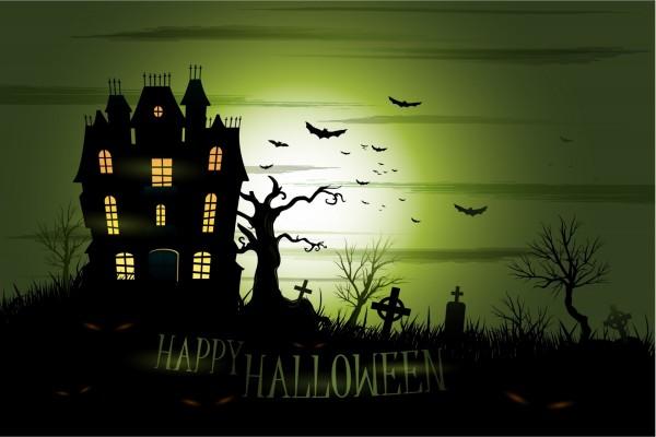 """""""Feliz Halloween"""" junto a un castillo embrujado"""