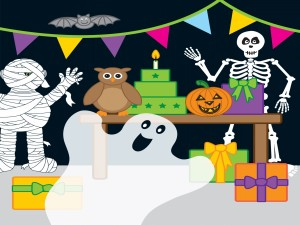 """Postal: Saludos en una divertida fiesta de """"Halloween"""""""