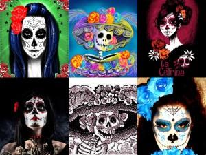 """Postal: Imágenes de """"La Catrina"""" y otras mujeres en el Día de Muertos"""