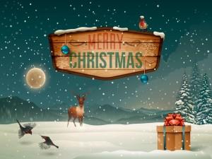 Postal: Cartel en la nieve de ¡Feliz Navidad!