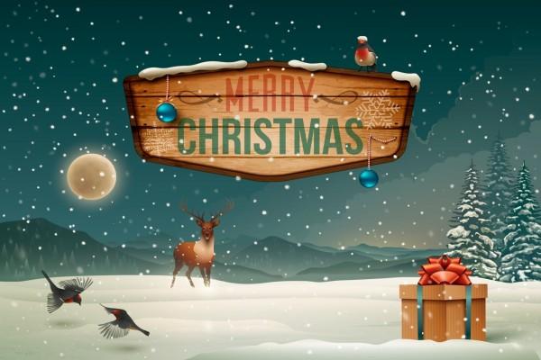 Cartel en la nieve de ¡Feliz Navidad!