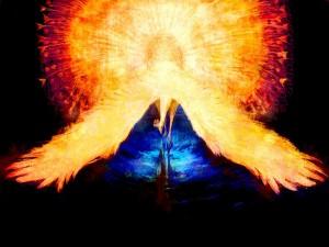 Pavo real con los colores del fuego