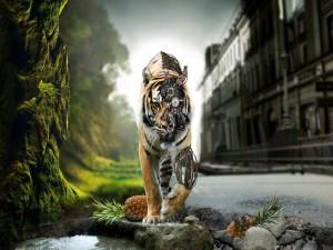 Postal: Un tigre robotizado