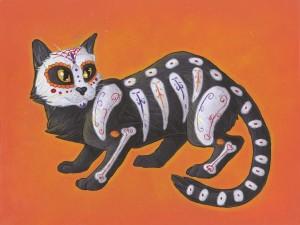 """Postal: Pintura de un gato en el """"Día de Muertos"""""""