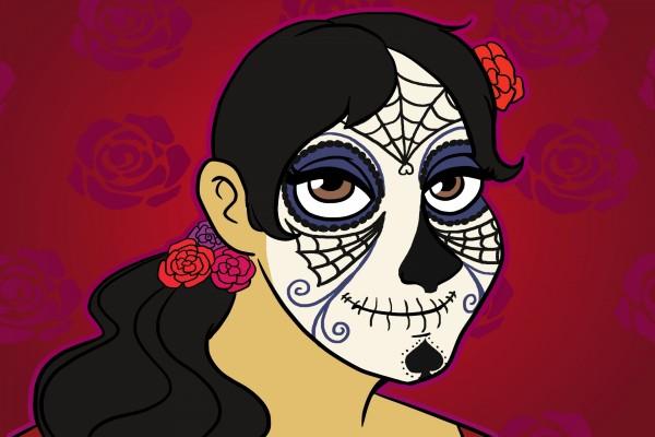 """Imagen de una mujer maquillada en el """"Día de Muertos"""""""