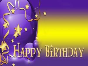 Feliz Cumpleaños y globos de color púrpura
