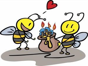 Postal: Abejas celebrando un cumpleaños con miel