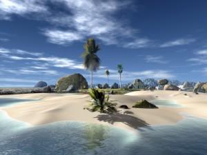 Playa virtual con grandes rocas