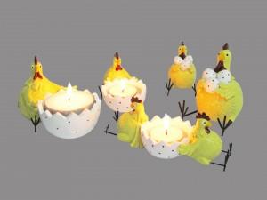 Postal: Originales porta velas de huevos y gallinas