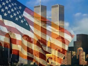 Bandera de los Estados Unidos ondeando en las Torres Gemelas y la ciudad de Nueva York