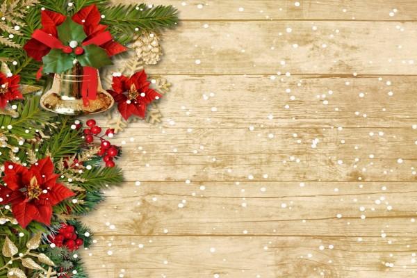 Copos de nieve sobre ramas y adornos navideños