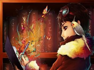 Una joven escritora con una ninfa en su hombro