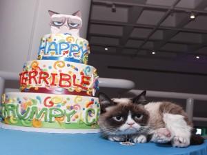 Postal: Un gato junto a su tarta de cumpleaños