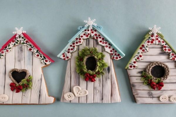 Lindas casitas navideñas hechas de galleta