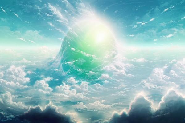 Planeta resplandeciente en el cielo
