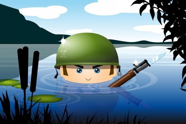Un soldado en el agua