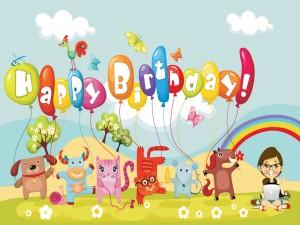 """Postal: Animales sosteniendo globos de """"Feliz Cumpleaños"""""""