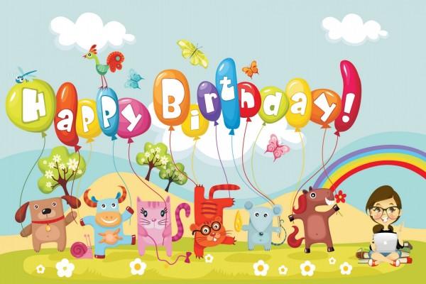 """Animales sosteniendo globos de """"Feliz Cumpleaños"""""""