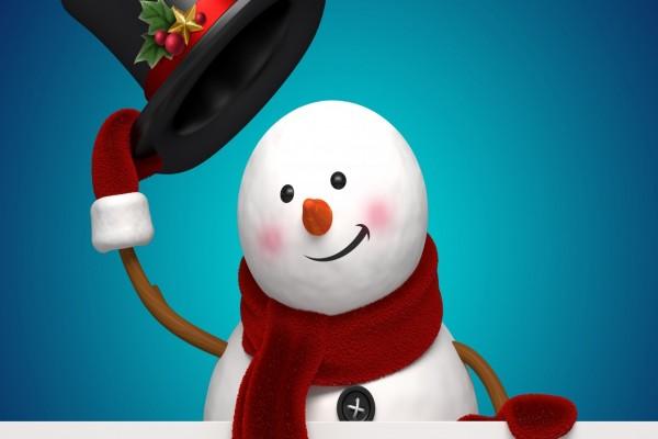 Muñeco de nieve saludando con un sombrero