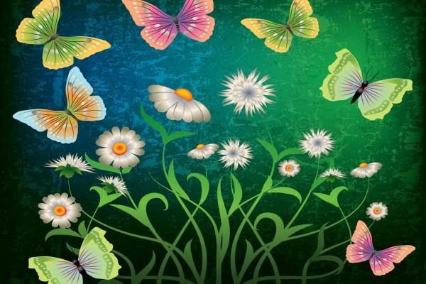 Diseño floral con mariposas