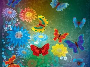Postal: Mariposas jugando entre las flores