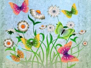 Postal: Dibujo abstracto con flores blancas y mariposas
