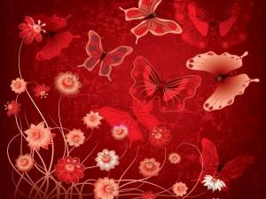 Flores y mariposas en tonos de color rojo