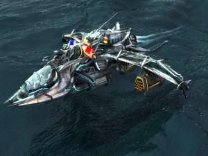 Nave espacial sobre el agua