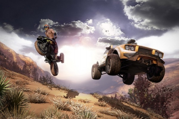 Moto y coche compitiendo en un rally (videojuego)