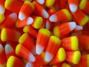 Postal: Caramelos de maíz para Halloween