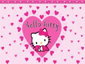 Hello Kitty entre corazones