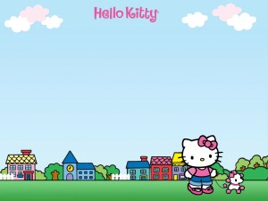 Hello Kitty paseando con un perrito