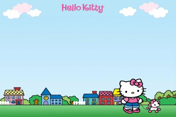 Hello Kitty paseando con un perrito