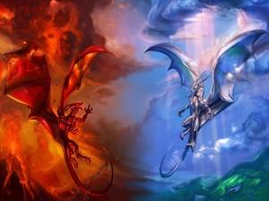 Dragón del bien contra dragón del mal