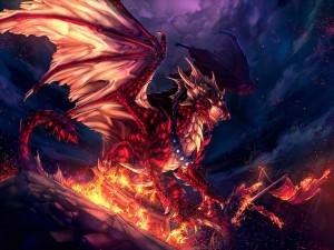 Dragón rojo quemando un barco