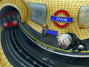 Hombre gritando a unas ratas en el metro