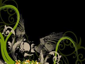 Postal: Ramas y flores en un fondo negro