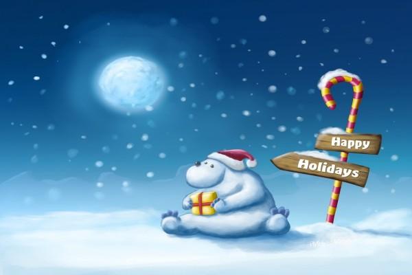 Oso polar solo en Navidad