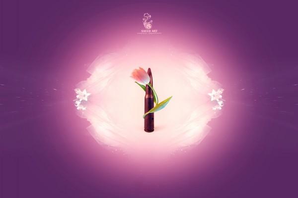 """Tulipán rodeando una bala """"No a la guerra"""""""