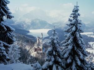 Precioso paisaje nevado en el castillo de Neuschwanstein (Baviera, Alemania)
