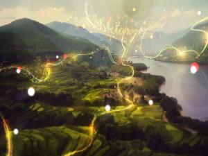 Destellos y líneas de luz sobre un paisaje